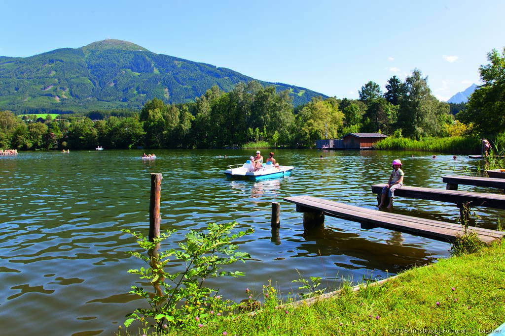 Swimming and Sunbathing at the Lanser See Lake